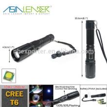 3 modos de brillo Semi-automático atenuación de aluminio 3AAA Batería Cree 10W T6 1200 Lumen LED linterna antorcha