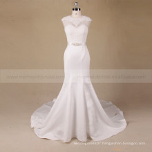 Fashion style mermaid scoop neck sexy hollow back lace wedding dress with beading on waist