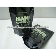 Folha de alumínio levantar sacos de café com zip lock / zipper / valve
