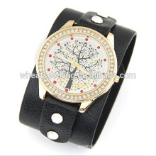 2014 Teenage New Fashion Wide Strap With Lucky Tree Leisure Bracelet en cuir pour femmes