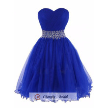 Oem Wholesale 2016 Gorgeous Knee Length Organza Beads Royal Blue Prom Dresses Party Gown