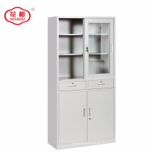 Armário do armazenamento do escritório da porta deslizante de vidro / vidro & armário de aço da porta deslizante do ferro