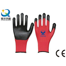 13 Guage Polyester Shell Natrile Coated Safety Work Glove (N7003)