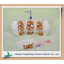 Conjunto de accesorios de baño de cerámica de cerámica sanitaria de impresión de leopardo sexy para señoras