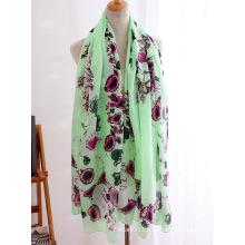 Senhora moda flor crânio impresso lenço de seda de viscose (yky1151)