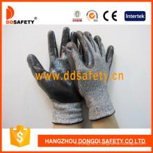 13G Black White Hppe and Spandex Knitted Work Gloves Dcr118