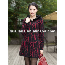 women's long jacquard cashmere knitting coat