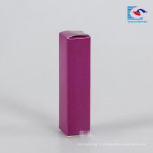 boîte de brillant à lèvres d'emballage de papier violet avec étiquette privée