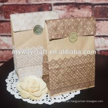 Bolsa de papel marrom kraft embalagem saco de papel dobrável saco de papel de pão