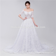 Bridal Scoop Neckline Off Shoulder Strapless Lace Elegant Muslim Wedding Dress