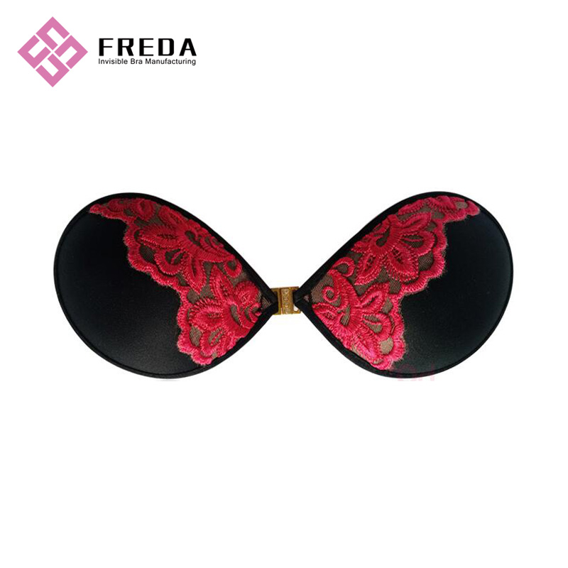 Strapless Self Adhesive Leopard Print Lace Front Closure Bra