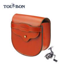Tourbon лучшие продажи качество натуральной кожи нахлыстом катушки случае