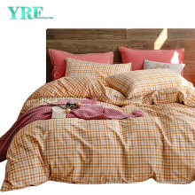 Homestay Cotton Bed Sheet New Product Hot Selling Orange Plaid