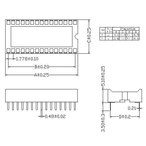 1.778mm Dual-in-line Socket Straight DIP Type Stamped