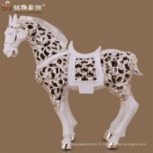 Décoration de Noël décoration de plancher résumé poly animal figure résine sculpture de chevaux