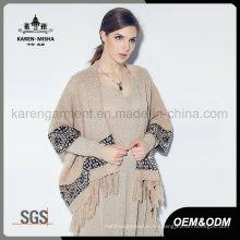 Las mujeres borlas Trimed Hem azteca patrón invierno suéter de la rebeca