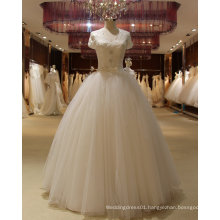 Top Sale Cheap White Short Sleeve Floor Length Wedding Dress