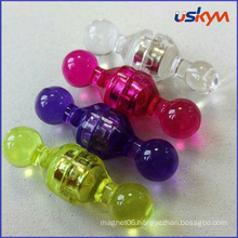 Colorful Clear Plastic Magnetic Paper Holder Push Pin
