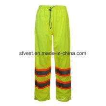 Pantalon imperméable et imperméable à l'eau imperméable à la pluie avec élastique à la taille Hi-Vis