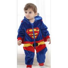Vêtements pour bébés, 100% Polyester en forme de molleton Romper / Superman