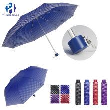 3 Folding Manual Open Fiberglass Umbrella with Dots Prints