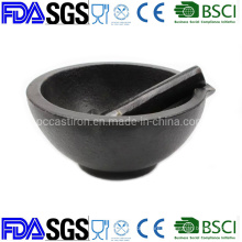 Customized Nonstick Preseasoned Cast Iron Mortar and Pestle Dia: 13cm