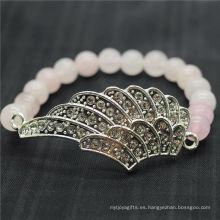 Rose Cuarzo 8MM Pulsera de piedras preciosas de estiramiento de cuentas redondas con diamante aleación de ala grande Pieza