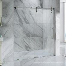 Seawin Bathroom Glass Black Roller Bearings Single Sliding Shower Glass Doors