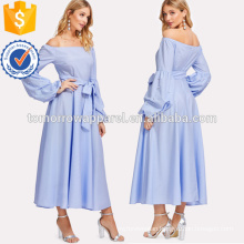 Pearl Beading Gathered Sleeve Pinstripe DressManufacture Wholesale Fashion Women Apparel (TA3191D)