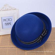 Женская мода Bowtie Синяя шерстяная трикотажная зимняя ведро Hat (YKY3236)