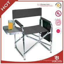 cadeira de diretor dobrável de alumínio com mesa lateral