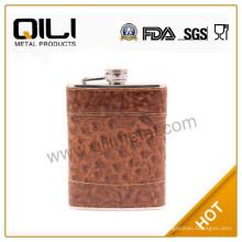 6 onzas de cuero envuelta de acero inoxidable frasco de la cadera