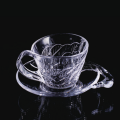 Swan style glass cup and saucer