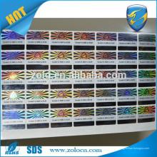 Característica anti-falsificação e tipo de adesivo Tipo Holograma de segurança
