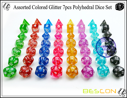 Assorted Colored Glitter 7pcs Polyhedral Dice Set-7