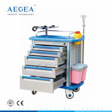 AG-ET001A1 Centralized lock medical emergency cart hospital abs instrument trolley