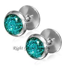 Edelstahl blau Glitter 10mm Fake Plugs