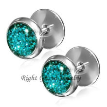 Stainless Steel Blue Glitter 10mm Fake Plugs