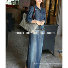 13CD1157 Denim slim fit long sleeve maxi dress