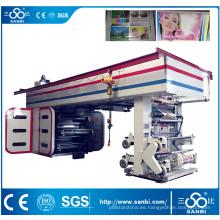 Máquina de impresión flexográfica del tambor central de alta velocidad de 6 colores