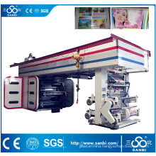 6 Color High Speed Central Drum Flexographic Printing Machine