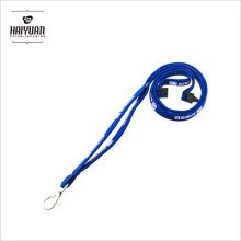 OEM de alta calidad nuevo diseño azul tubular correa de impresión de cuello con mosquetón