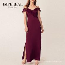 Ruffle Sleeveless Spaghetti Straps Collection Patterns Burgundy Bridesmaid Dresses