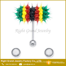 Fashion Factory price 14G Silicone Surgical steel Vibrating tongue barbell ring