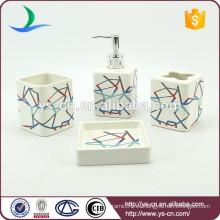 4pcs cuadrados de rayas coloridas baño de cerámica casa accesorio conjunto de decoración