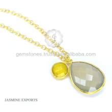Vermeil Gold Bezel Setting Long Chain Necklace For Christmas