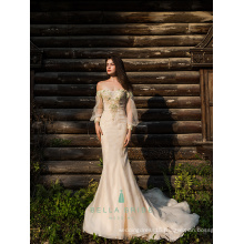 Embroidary beaded evening dress mermaid off-the-shoulder formal dress