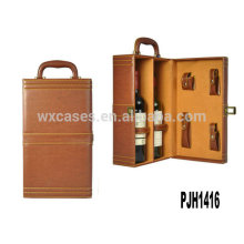 New arrival!high quality leather wine case for 2 bottles hot sell