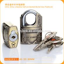 Popular seguro de aleación de zinc grillete medio protegido bullet clave candado
