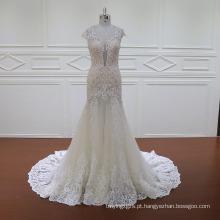 Cap manga vestido de noiva de camada dupla vestido de dama de honra